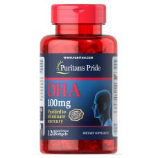 Риб'ячий жир, DHA , Puritan's Pride, 100 мг, 120 гелевих капсул