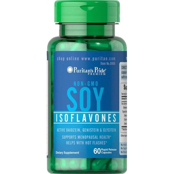 Ізофлавони сої, Soy Isoflavones, Puritan's Pride, без ГМО, 750 мг, 60 капсул швидкого высвобождения