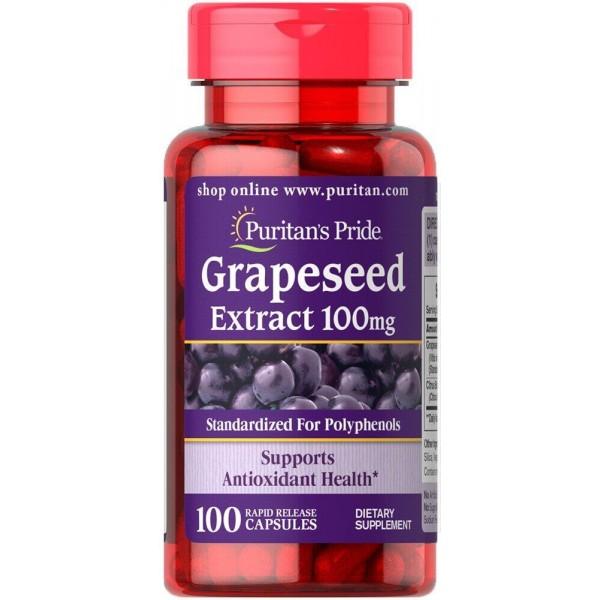 Екстракт виноградної кісточки, Grapeseed Extract, Puritan's Pride, 100 мг, 100 капсул