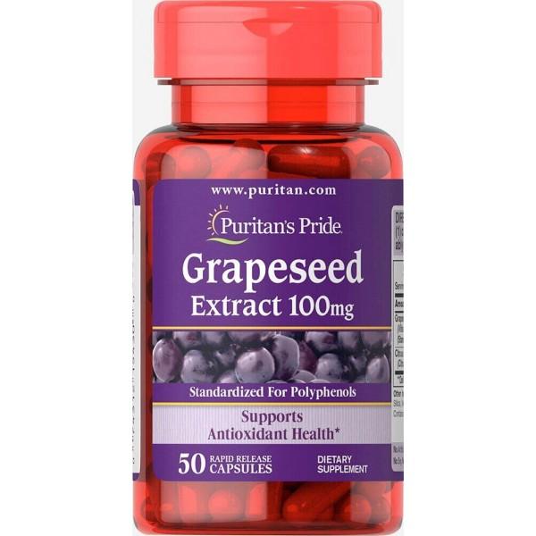 Екстракт виноградних кісточок, Grapeseed Extract, Puritan's Pride, 100 мг, 50 капсул