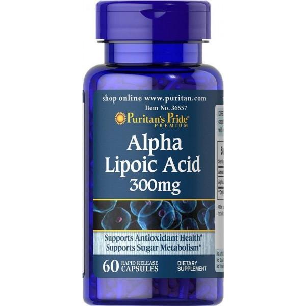 Альфа-ліпоєва кислота, Alpha Lipoic Acid, Puritan's Pride, 300 мг, 60 гелевих капсул