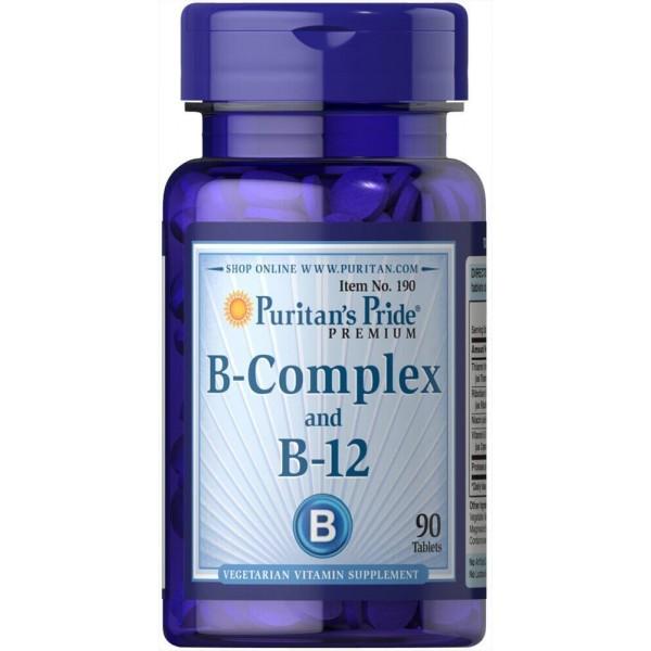 Вітаміни групи В, Vitamin B-Complex and Vitamin B-12, Puritan's Pride, 90 таблеток