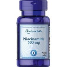 Ніацинамід, Niacinamide, Puritan's Pride, 500 мг, 100 таблеток
