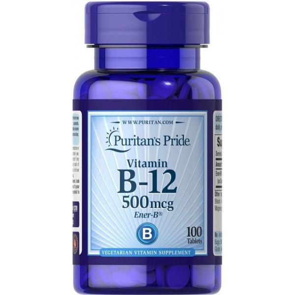 Вітамін В-12, Vitamin B-12, Puritan's Pride, 500 мкг, 100 таблеток