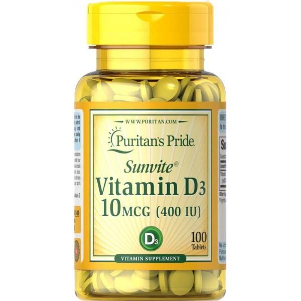 Вітамін Д3, Vitamin D3, Puritan's Pride, 400 МО, 100 таблеток