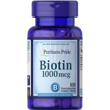 Біотин, Biotin, Puritan's Pride, 1000 мкг, 100 таблеток