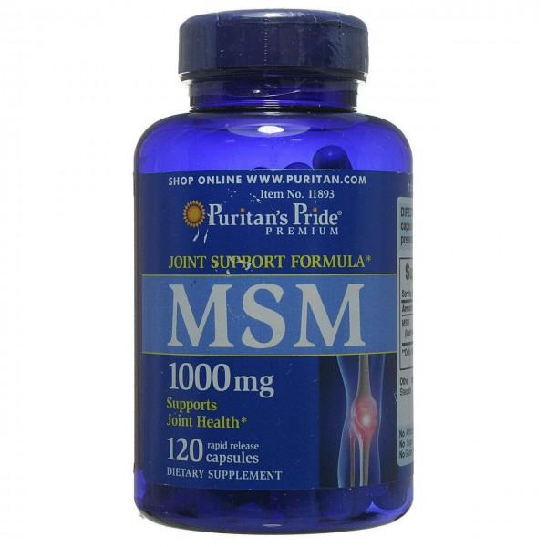 МСМ, Метилсульфонілметан, MSM, Puritan's Pride, 1000 mg, 120 капсул