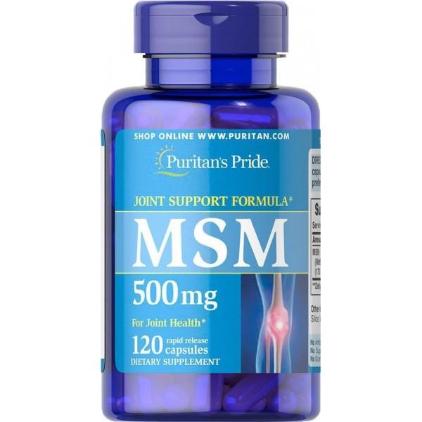МСМ, Метилсульфонілметан, MSM, Puritan's Pride, 500 мг, 120 капсул