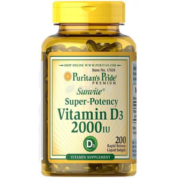 Вітамін Д3, Vitamin D3, Puritan's Pride, 2000 МО, 200 капсул