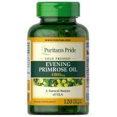 Масло вечірньої примули з гамма-ліноленової кислотою, Evening Primrose Oil, Puritan's Pride, 1000 мг, 120 гелевих капсул