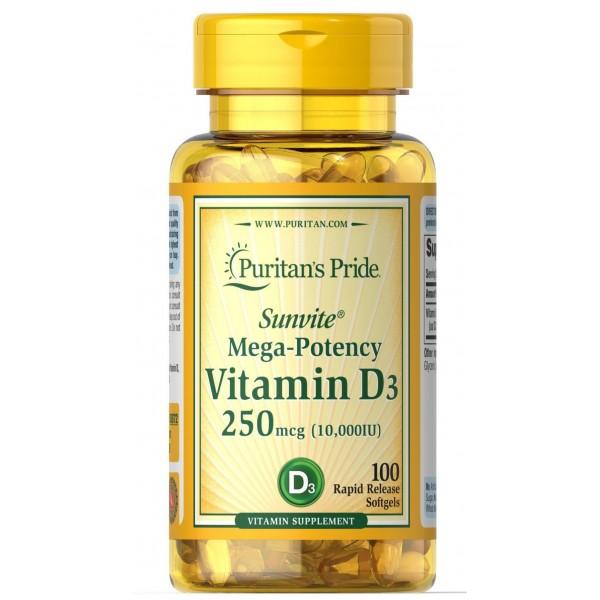 Вітамін Д3, Vitamin D3, Puritan's Pride, 10,000 МО, 100 капсул