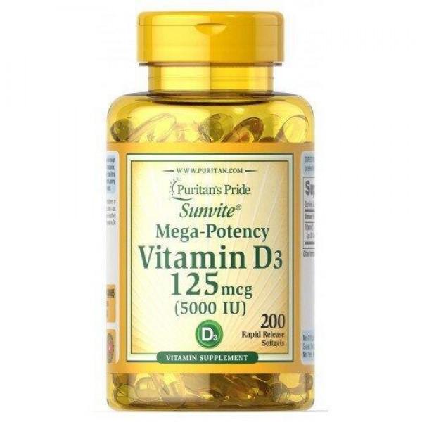 Вітамін Д3, Vitamin D3, Puritan's Pride, 5000 МО, 200 капсул