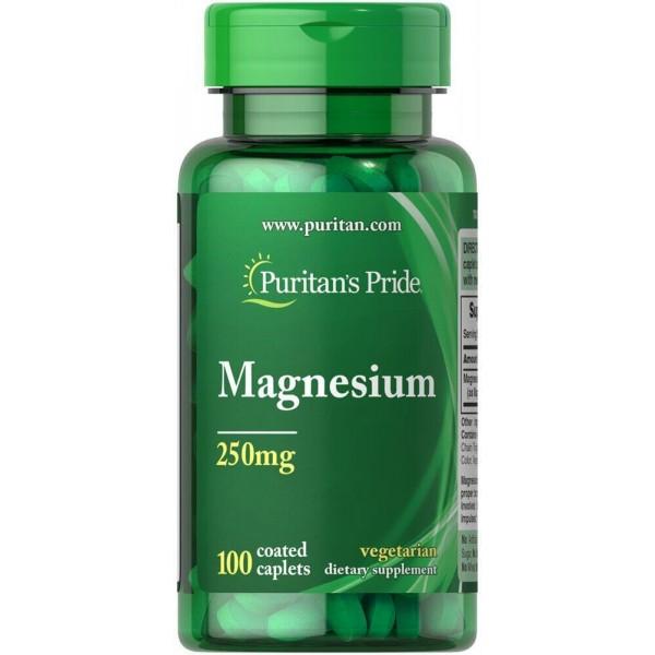 Магній, Magnesium, Puritan's Pride, 250 мг, 100 капсул