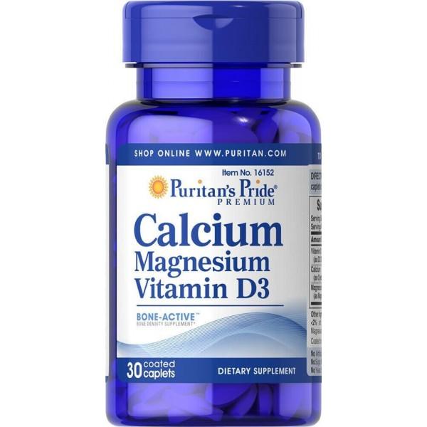 Кальцій Магній Вітамін Д, Calcium Magnesium with Vitamin D, Puritan's Pride, 30 капсул