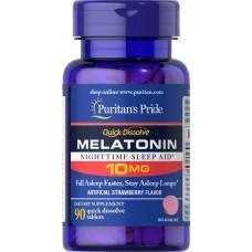 Мелатонін швидкого розчинення, Quick Dissolve Melatonin, Puritan's Pride, 10 мг, смак полуниці, 90 швидкорозчинних таблеток