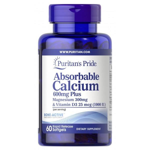 Кальцій плюс магній і вітамін Д3, Absorbable Calcium plus Magnesium with Vitamin D3, Puritan's Pride, 600 мг / 300 мг / 1000 МО, 60 капсул