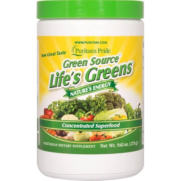 Суперфуд, Life's Greens Concentrated Superfood Formula, Puritan's Pride, 273 г