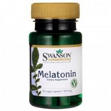 Мелатонін, Melatonin, Swanson, 500 мкг, 60 вегетаріанських капсул
