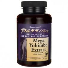 Йохимбе, екстракт, Mega Yohimbe Extract, Swanson, 750 мг, 120 капсул