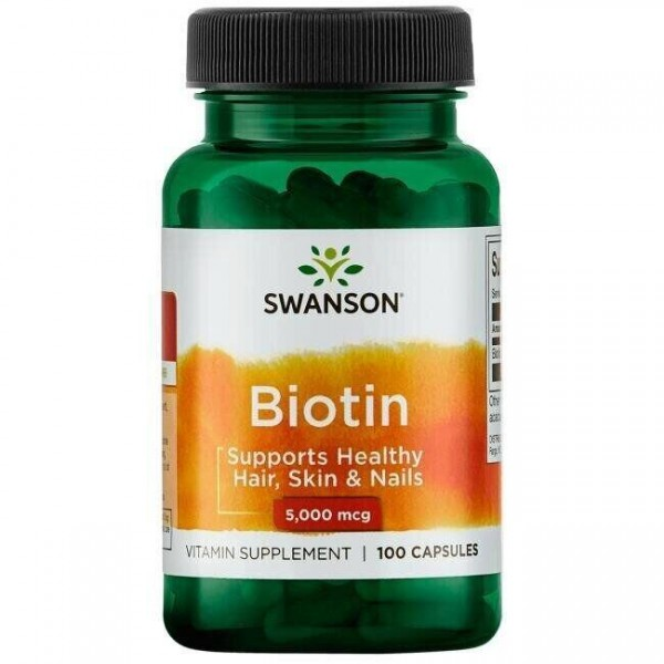 Біотин, Biotin, Swanson, 5000 мкг, 100 капсул