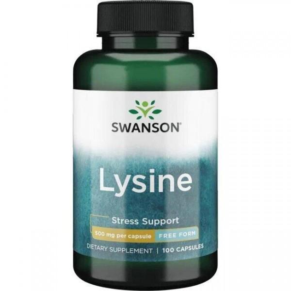Л-лізин у вільній формі, Free-form L-Lysine, Swanson, 500 мг, 100 капсул