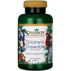 Вітаміни для дітей, Children's Chewable, Swanson, смак апельсину, 120 жувальних таблеток