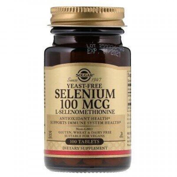 Селен без дріжджів (Selenium), Solgar, 100 мкг, 100 таблеток