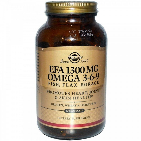 Риб'ячий жир, Омега 3 6 9 (EFA, Omega 3-6-9), Solgar, 1300 мг, 120 капсул