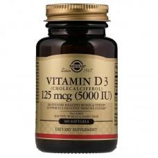 Вітамін Д3, Vitamin D3, Solgar, 5000 МО, 100 капсул
