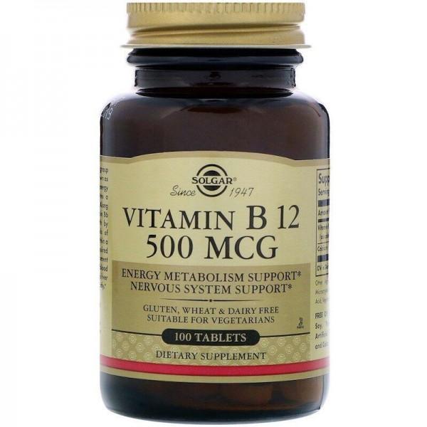 Вітамін В12, Vitamin B12, Solgar, 500 мкг, 100 таблеток