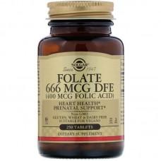Фолієва кислота (Folic Acid), Solgar, 400 мкг, 250 таблеток