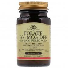Фолієва кислота, Folate as Metafolin, Solgar, 400 мкг, 100 таблеток