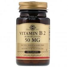Рибофлавін, Vitamin B2, Solgar, 50 мг, 100 таблеток