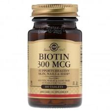 Біотин, Biotin, Solgar, 300 мкг, 100 таблеток