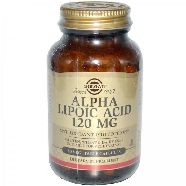 Альфа-ліпоєва кислота, Alpha Lipoic Acid, Solgar, 120 мг, 60 капсул