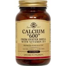 """Кальцій з раковин устриць, Calcium """"600"""", Solgar, 60 таблеток"""