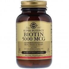 Біотин, Biotin, Solgar, 5000 мкг, 50 капсул