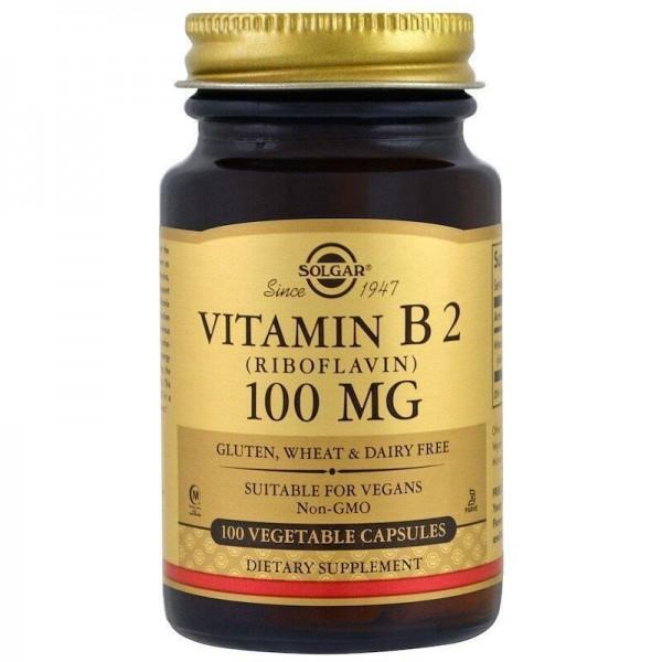 Рибофлавін, Vitamin B2, Solgar, 100 мг, 100 капсул