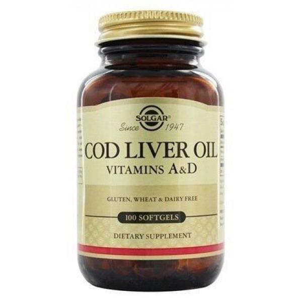 Вітамін А і Д з печінки норвезької тріски, Vitamin А and D Cod Liver Oil, Solgar, 100 капсул