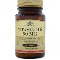 Вітамін В6 (піридоксин), Vitamin B6, Solgar, 50 мг, 100 таблеток