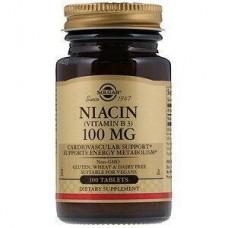 Вітамін В3, Niacin, Solgar, 100 мг, 100 таблеток