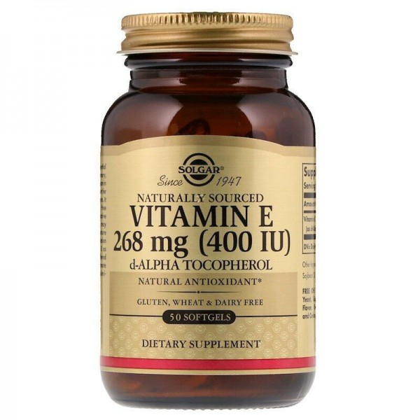 Вітамін Е, суміш токаферолов, Vitamin E Tocopherols, Solgar, 400 МО, 50 капсул