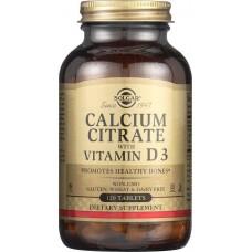 Кальцій цитрат та вітамін Д3, Calcium Citrate with Vitamin D3, Solgar, 250 мг/150 МО, 120 таблеток