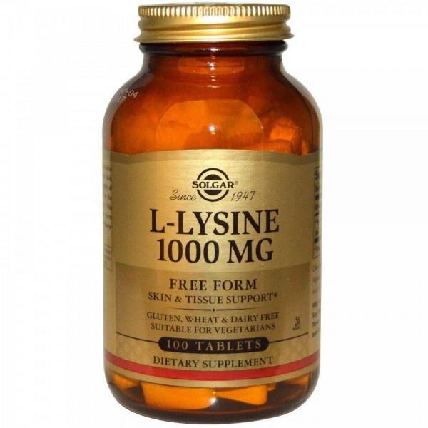 Лізин, L-Lysine, Solgar, 1000 мг, 100 таблеток