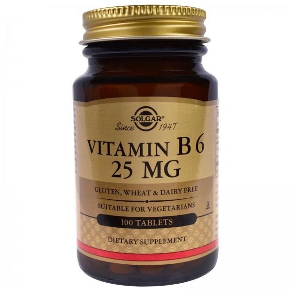 Вітамін В6, Vitamin B6, Solgar, 25 мг, 100 таблеток