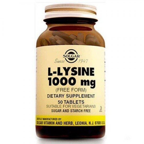 Лізин, L-Lysine, Solgar, 1000 мг, 50 таблеток