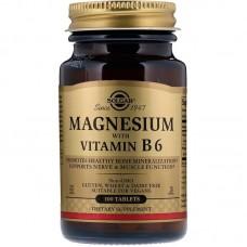 Магній з вітаміном В-6, Magnesium with Vitamin B6, Solgar, 133/8 мг, 100 таблеток