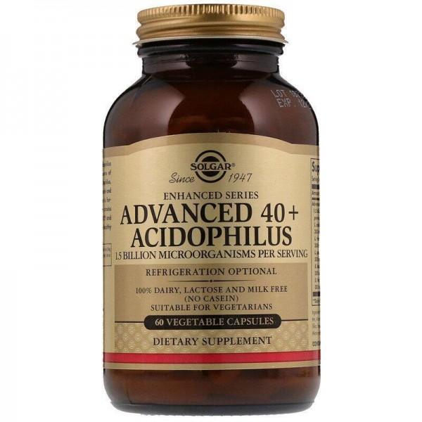 Пробіотики, Advanced 40+ Acidophilus, Solgar, без молочних продуктів, 60 капсул