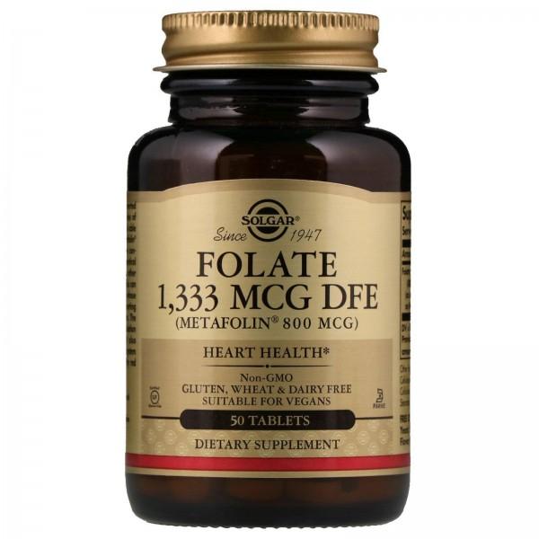 Фолієва кислота, Folate As Metafolin, Solgar, метафолін 800 мкг, 50 таблеток