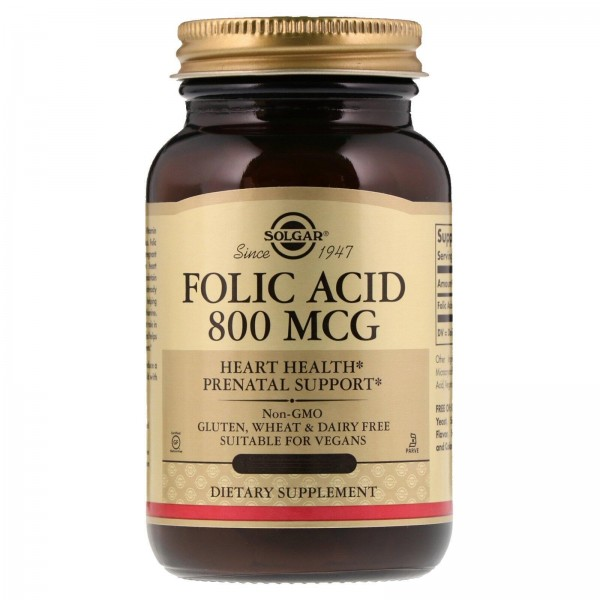 Фолієва кислота, Folic Acid, Solgar, 800 мкг, 100 капсул